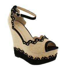 Eddie Marc Bonnie Studded Wedge Heels in Black - Beyond the Rack Cute Shoes, Me Too Shoes, Awesome Shoes, Fab Shoes, Steam Punk, Wedge Heels, High Heels, Stilettos, Heeled Sandals