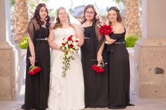 Red and Black Wedding: Bridesmaid Dresses and Bouquets