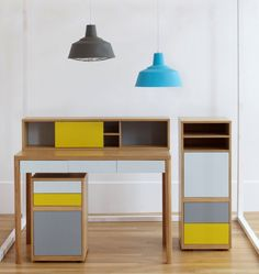Brighten up your office with pops of colour from our Albion desk range and rubber industrial lamps. #Habitat