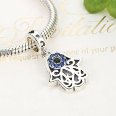 Sterling Silver Eye of Evil Blue Crystal Dangle Bead Charms Hamsa Hand Charm Fit Snake Chain Bracelets >>> To view further for this article, visit the image link. #JewelryDesign