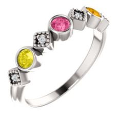 customizable mothers ring to wear with other stackable rings