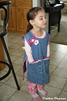 Creative Mommas: Child Jean Apron I like the craft smock idea but need to boy it up ... maybe faux leather trim....