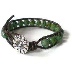 leather beaded wrap bracelet turquoise firepolished by jcudesigns, £13.00