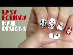 ▶ Easy Holiday Nail Designs - YouTube