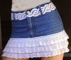 gonne jeans | Hobby lavori femminili - ricamo - uncinetto - maglia