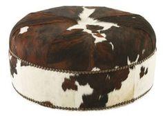 Jackson Round Hide Ottoman, Brown/White