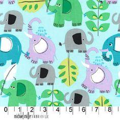 NEW Pink Pachyderm Shower Elephants by Michael Miller Fabrics. $8.75, via Etsy.
