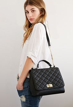 Quilted Faux Leather Shoulder Bag | Forever 21 - 1000078717 Want this so I can DIY the carrie bag