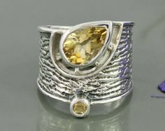 Brazilian Citrine Gemstone and Sterling Silver Designer Ring