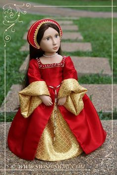 Beautifully made tudor gown for A Girl for All Time dolls.