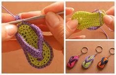 Flip Flop Keychain Crochet Free Patterns-Video Tutorial Kids Crochet Hats Free Pattern, Crochet Kids Hats, Crochet Toys, Free Crochet, Crochet Keychain, Crochet Earrings, Crochet Projects, Patterns, Sewing