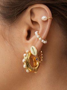 Bar Stud Earrings, Rose Gold Earrings, Gold Hoop Earrings, Pearl Earrings, Black Diamond Studs, Black Diamond Earrings, Looks Chic, Ear Jewelry, Ear Piercings