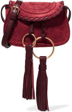 79a3db4dedf3 See by Chloé - Polly Mini Leather-trimmed Tasseled Suede Shoulder Bag -  Burgundy