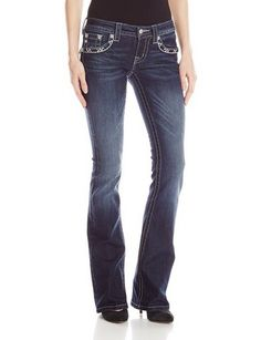 Junior's Rhinestone Embellished Floral Cross Boot Cut Denim Jean - For Sale Check more at http://shipperscentral.com/wp/product/juniors-rhinestone-embellished-floral-cross-boot-cut-denim-jean-for-sale-2/