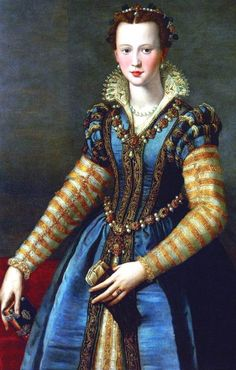 "medici family tree |Leonora di Toledo Medici.  Daughter of King Phillip II of Spain, married to Pietro Medici. Murdered by her husband for infidelity. Pietro's sister was Isabella De Medici - this portrait is often mistaken for Isabella.  See my pin ""Murder of a Medici Princess"" for their fascinating story."
