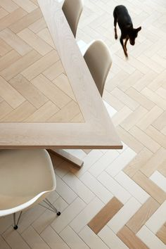 Herringbone patterns feature inside angular house extension by Platform 5