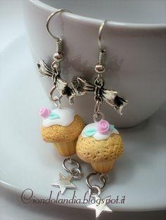 Orecchini Cupcake con fiocchetti Vintage-Retrò Style (FIMO hand made)