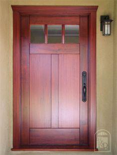 Mahogany Craftsman Entry Door in Burbank, California -- Real Carriage Doors - Gallery of Entry Doors Craftsman Front Doors, Craftsman Exterior, Craftsman Bungalows, Craftsman Style, Exterior Doors, Front Door Design, Front Door Colors, Front Door Decor, Carriage Doors