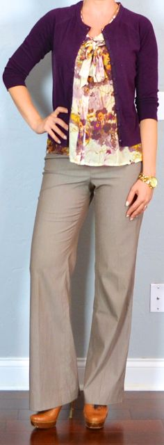 Outfit Posts: outfit post: floral print tie-neck blouse, burgundy cardigan, tan work pants