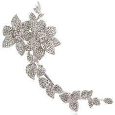 Women's Austrian Crystal Elegant 9 Inch Flowers Leaf Long Brooch Clear Silver-Tone - CE11BGDM46Z - Brooches & Pins  #jewellrix #Brooches #Pins #jewelry #fashionstyle