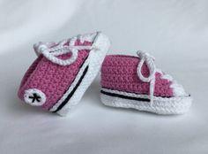 Converse Style/Chucks Baby Booties Bright Pink by BabyJaneKnits