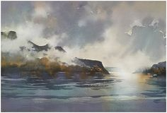 Low Clouds on the Hudson - New York Thomas W Schaller - Watercolor 14x20 inches 15 April 2015