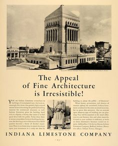 1931 Indiana Limestone and the Indiana World War Memorial  |   Walker & Weeks, architects