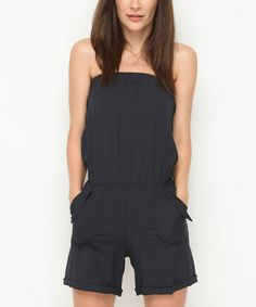 $39...love rompers!!!  Look what I found on #zulily! Navy Blue Tie-Back Strapless Romper #zulilyfinds