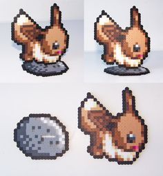 Perler Bead Eevee with Everstone Stand by NerdyNoodleLabs on Etsy
