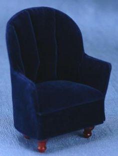 Blue Velvet Chair | Mary's Dollhouse Miniatures  $11.99