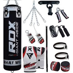 RDX Punch Bag & Boxing Set made of durable & premium quality material. Buy Punch Bag & Boxing Set from the official online store in USA Heavy Punching Bag, Boxing Punching Bag, Kick Boxing, Muay Thai Martial Arts, Boxing Punches, Boxing Training, Garage Gym, Boxing Gloves, Workouts