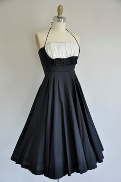 50s black and white dress / vintage 1950s 50s by simplicityisbliss, $68.00