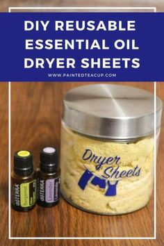 Easy, all natural & frugal DIY essential oil dryer sheets. These reusable dryer sheets use lavender and bergamot essential oils!
