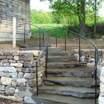 exterior hand railings for stairs Exterior Stair Railing, Outdoor Handrail, Metal Stair Railing, Outdoor Stairs, Iron Handrails, Iron Railings, Modern Barn, House Front, Garden Bridge