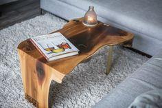 birdmanthewelder.com Live Edge, waterfall coffee table, Cedar & Brass