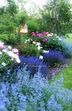 How to plan a Cottage Garden- My favourite colours in a garden are blues, pinks and purples. This is breathtaking.