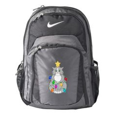 Funny Mad Christmas Tree Cat in Colorful Lights Nike Backpack - cat cats kitten kitty pet love pussy