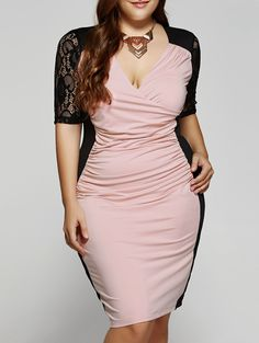 Plus Size 12 Sleeves V-Neck Splice Lace Dress Plus Size Chic, Dress Plus Size, Looks Plus Size, Plus Size Outfits, Curvy Girl Fashion, Look Fashion, Plus Size Fashion, Fashion Beauty, Fashion Site
