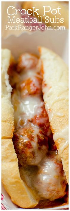 Easy Slow Cooker Crock Pot Meatball Subs sandwiches recipe made with frozen meatballs! Great comfort food dinner for the entire family.  via @ParkRangerJohn