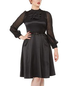 Another great find on #zulily! Black Ruffle Long-Sleeve Fit & Flare Dress #zulilyfinds