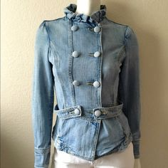 """Hudson Denim Jacket Hudson Denim Jacket come in a light wash with large self fabric button closure, two front pockets and a ruffle collar. Size: S (Tag Size: M) Bust: 34"""" Length: 25"""" Shoulder to Shoulder: 14"""". 64% Cotton 36% Viscose. Made in USA. Runs small. In excellent condition. Hudson Jeans Jackets & Coats Jean Jackets"""