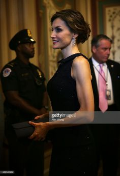 Queen Letizia of Spain, who is on a visit to Washington with King Felipe VI, arrives for a meeting with the U.S. Senate Foreign Relations Committee September 14, 2015 on Capitol Hill in Washington, DC. The royal couple had a meeting with President Barack Obama at the White House earlier the day.