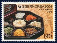 Korea Food Series (4th), Gujeolpan, Traditional Food, black, Orange, Ivory, 2004 06 15, 한국의 전통음식 시리즈(네 번째 묶음), 2004년06월15일, 2381, 구절판, postage 우표