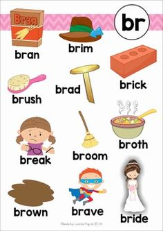 BR Blends Worksheets and Activities. Learning Phonics, Phonics Reading, Reading Comprehension Worksheets, Kindergarten Reading, Fun Learning, English Phonics, English Language Learners, Teaching English, Learn English