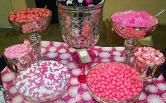 Candy buffets add an element of fun and color to your wedding or event. The key to a fabulous wedding candy buffet is not skimping on the candy! Pink Candy Buffet, Candy Table, Candy Bar Wedding, Wedding Reception, Reception Ideas, Wedding Ideas, Wedding Poses, Wedding Pictures, Wedding Details