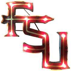 "Florida State University ""fsu"" Lighted Recycled Metal Sign - Fsuwdlgt - Ncaa College Florida State Fsu Seminoles Metal Sign"