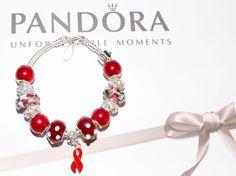 WOMAN'S 7.1  AUTHENTIC PANDORA BRACELET W/RED RIBBON AWARENESS SS & MURANO BEADS #Pandora #European