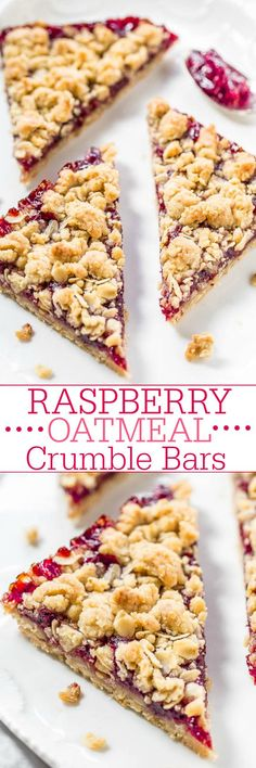 Raspberry Oatmeal Crumble Bars - Fast easy no-mixer bars great for breakfast snacks or a healthy dessert!! The big crumbles are irresistible! Fresh raspberries not needed so you can make the bars year round!!