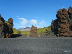 Dritvik-Djupalonssandur, Iceland. Black sand beach with Snaefellsjokull Volcano  in background.