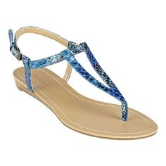"""As seen in the April issue of InStyle & the May issue of Lucky.....Thong sandal with adjustable buckle closure and .5"""" heel."""